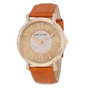 Anne Klein Accented Rose Gold Leather Strap Watch